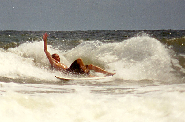 Myself surfing hard in the wrong part of the wave.